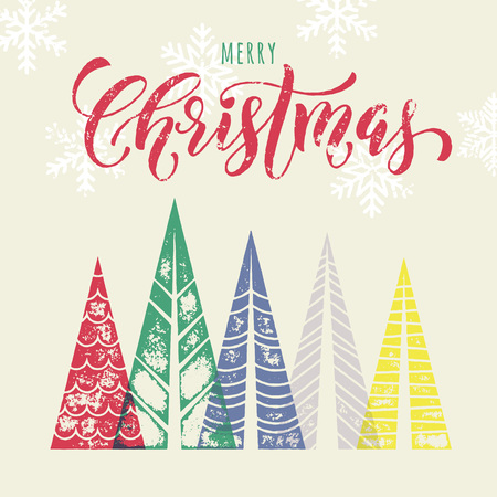 pine decoration: Christmas tree decoration background for winter holidays greeting card with pine tree forest in geometric shape. Snow snowflakes background. Merry Christmas vector modern art lettering