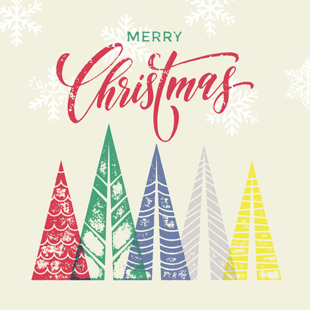 winter vector: Christmas tree vector greeting card text lettering for merry holiday. Winter forest background with Merry Christmas modern calligraphic lettering with color fir pine trees in geometric shape
