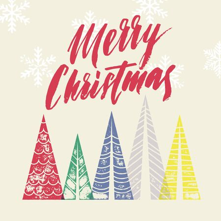 pine decoration: Winter forest background with Christmas trees greeting card. Merry Christmas greeting card text with pine tree forest in geometric shape. Snow snowflakes background for New Year decoration