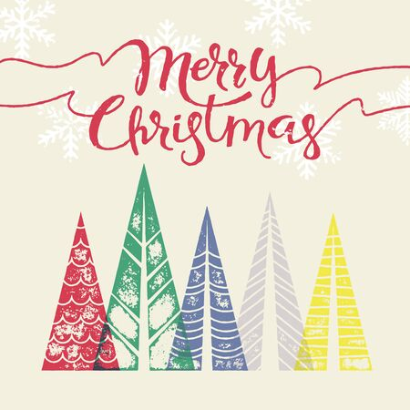 fir trees: Christmas tree vector greeting card text lettering. Merry Christmas modern greeting card with pine tree. Winter holiday background with Christmas color fir pine trees in geometric shape