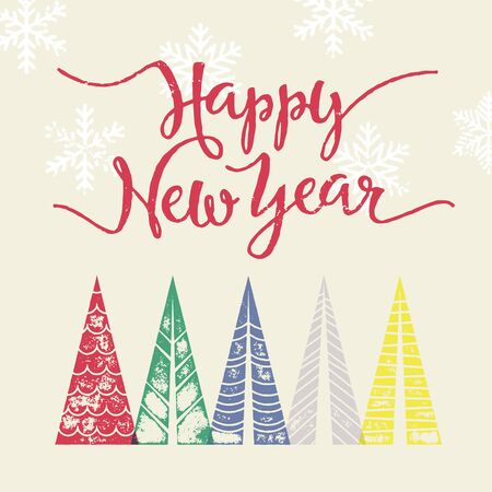 text year: Colorful winter holiday greeting card Happy New Year text Christmas tree vector calligraphic lettering. Merry Christmas modern greeting card with pine tree