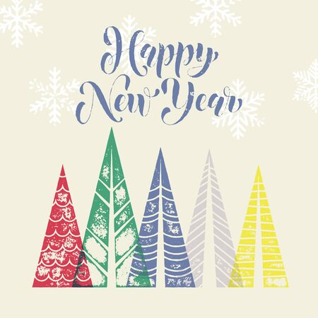 pine decoration: Winter forest background with winter trees greeting card. Happy New Year greeting card text with pine tree forest in geometric shape. Snow snowflakes background for New Year decoration