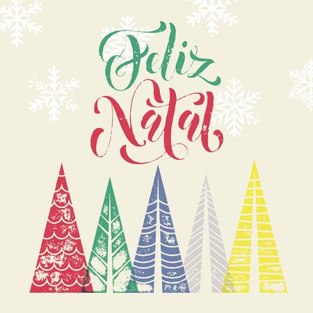 pine decoration: Christmas tree decoration background for Portuguese winter holidays. Feliz Natal greeting card with pine tree forest in geometric shape. Snow snowflakes background. Vector modern art lettering Illustration
