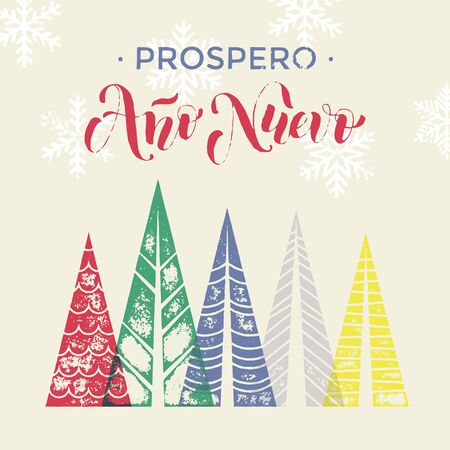ano: Spanish New Year Ano Nuevo winter background greeting card. Winter forest background with winter trees greeting card. Happy New Year greeting card text with pine tree forest in geometric shape