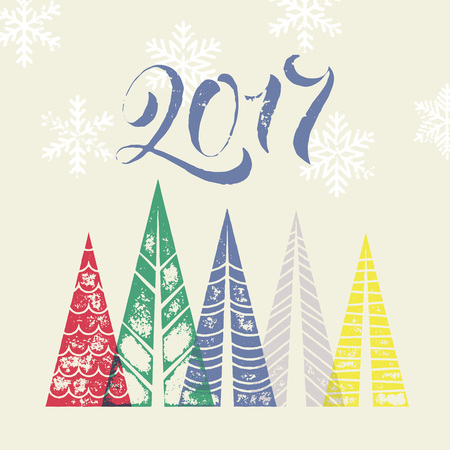인사말 카드 소나무와 새 해 2017 겨울 휴가 배경. 기하학적 모양의 소나무 숲과 행복 한 새 해 인사말 카드 텍스트입니다. 새해 장식 눈 눈송이 배경 일러스트
