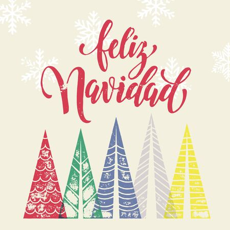 Colorful winter holiday spanish greeting card feliz navidad colorful winter holiday spanish greeting card feliz navidad merry christmas in spain text christmas tree m4hsunfo