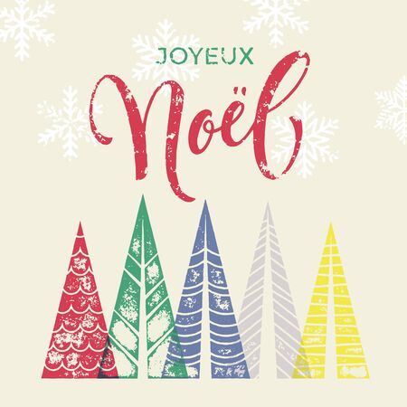 joyeux: French winter holidays greeting card with text Joyeux Noel, and Christmas trees forest in geometric shape. Snow snowflakes background decoration ornament. Merry Christmas vector trendy art poster Illustration