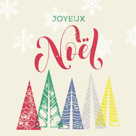 joyeux: Winter forest background with Christmas trees for french greeting card. Joyeux Noel France Merry Christmas greeting card text with pine tree forest in geometric shape