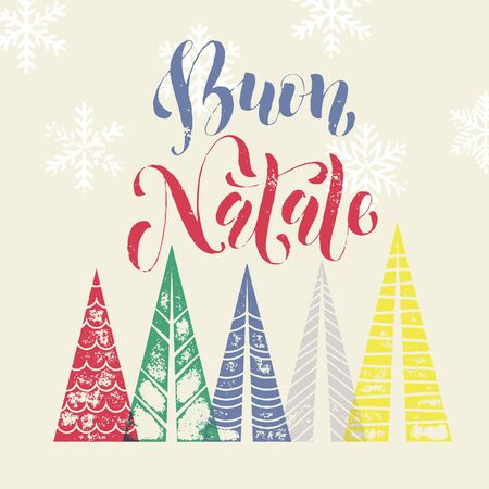 buon: Merry Christmas Italy greeting modern art card. Buon Natale text with Christmas trees. Merry Christmas modern greeting card with pine tree. Winter holiday background with Christmas color trees