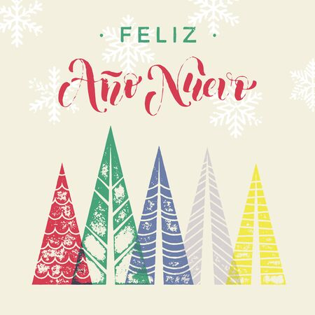 nuevo: Spanish New Year Ano Nuevo winter background greeting card. Winter forest background with winter trees greeting card. Happy New Year greeting card text with pine tree forest in geometric shape
