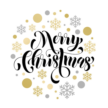 gold silver: Vector pattern of winter golden and silver crystal snowflakes ornaments for Merry Christmas greeting card. Golden Christmas decoration vector poster with gold foil glitter lettering