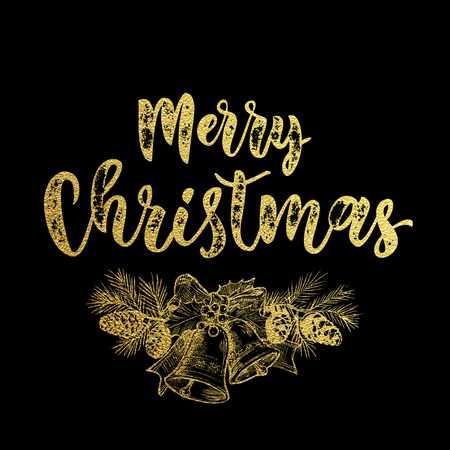 pine decoration: Garland wreath bow with bell of golden glitter sketch. Merry Christmas gold decoration pine tree cone ornament. Decorative calligraphy text lettering for greeting card