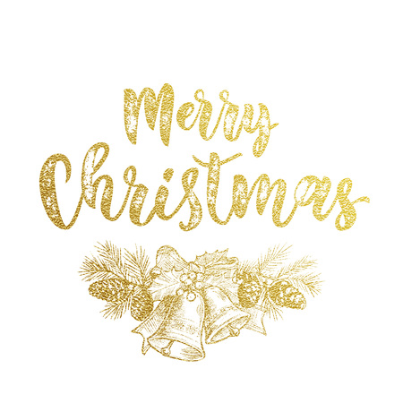 pine decoration: Christams bow garland wreath with bell of golden glitter sketch. Decorative calligraphy text lettering for greeting card. Merry Christmas gold decoration pine tree cone ornament