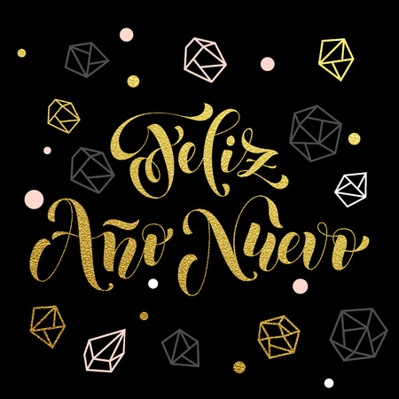 ano: New Year in Spanish golden text Feliz Ano Nuevo. Vector greeting for Happy New Year in Spain of winter golden and silver crystal ornaments. Vector poster or card with gold foil glitter lettering