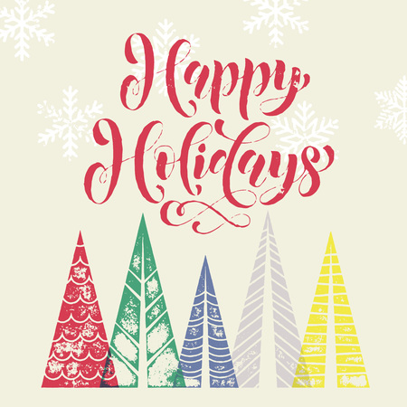 pine decoration: Happy Holidays Christmas tree decoration background for winter holidays greeting card with pine tree forest in geometric shape. Happy Christmas and New Year Holidays vector modern lettering