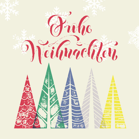 Winter background for french christmas joyeux greeting card merry christmas in germany text with christmas tree vector calligraphic lettering merry christmas modern greeting card m4hsunfo