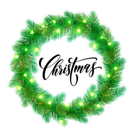 christmas element: Garland decoration of Christmas lights design element.