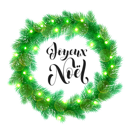 Joyeux Noel text lettering and Garland decoration of french Christmas lights design element.