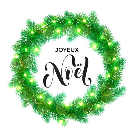 christmas element: Joyeux Noel text lettering and Garland decoration of french Christmas lights design element.