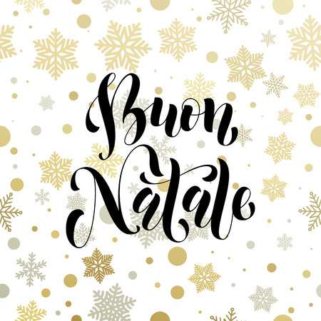 buon: Christmas in Italy Buon Natale golden Italian greeting card lettering. Illustration