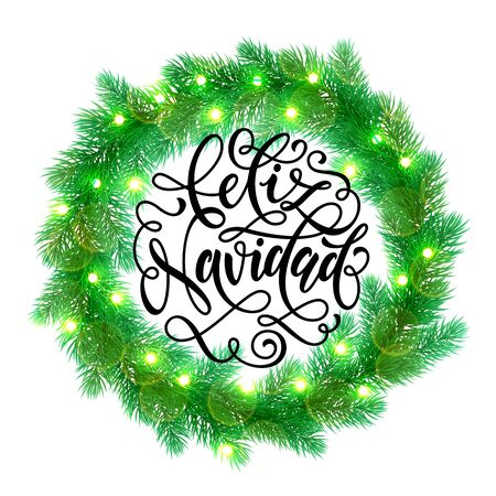 christmas element: Decorative wreath of Christmas lights garland decoration. Spanish Christmas Feliz Navidad tree wreath of of pine, fir, spruce branches. Merry Christmas bow door decoration design element with texture