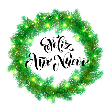 ano: Spanish New Year greeting Feliz Ano Nuevo text on garland decoration of spanish Christmas lights design element.