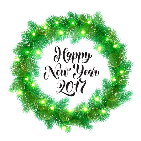 text year: Decorative wreath of 2017 Happy New Year text. Christmas lights garland decoration. Christmas tree wreath of of pine, fir, spruce branches. New Year bow door decoration design element with texture Illustration
