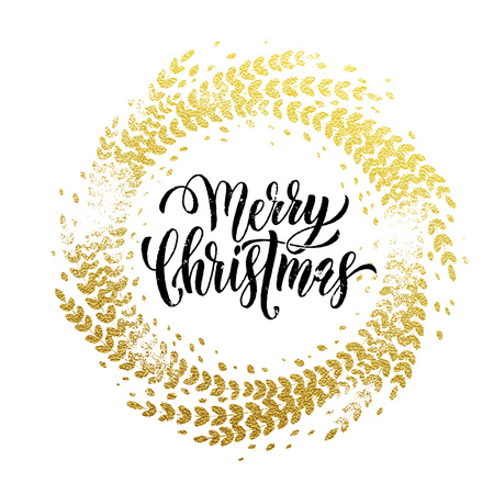 festive background: Golden sparkling decoration wreath leaf ornament of circle of and text calligraphy lettering. Festive background for Christmas decorative design. Merry Christmas gold greeting card