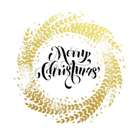 Merry Christmas gold greeting card. Golden sparkling decoration leaf wreath ornament of circle of and text calligraphy lettering. Festive background for Christmas decorative design