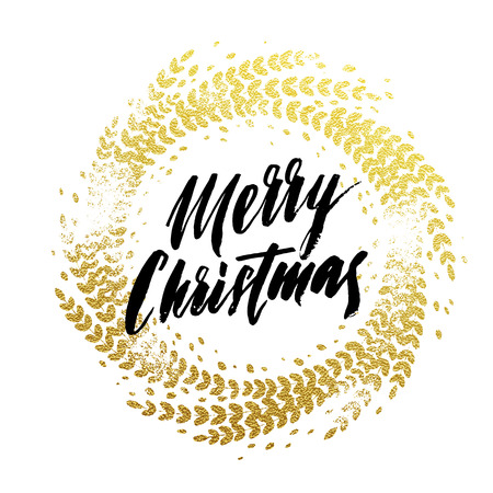 gold leaf: Wreath garland of gold leaf pattern. Golden sparkling decoration wreath garland leaf ornament of circle of and text calligraphy lettering. Festive background. Merry Christmas gold greeting card