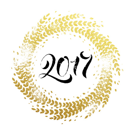 calligraphie: 2017 Golden sparkling decoration wreath leaf ornament of circle of and text calligraphy lettering. Festive background for Christmas decorative design. Happy New Year gold greeting card