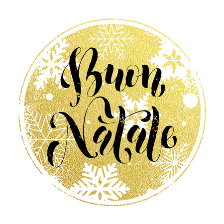 Christmas in Italy Buon Natale golden Italian greeting card lettering