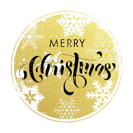gold christmas decorations: Ornaments and decorations of gold for Christmas holiday. Merry Christmas calligraphy with modern background for greeting card.