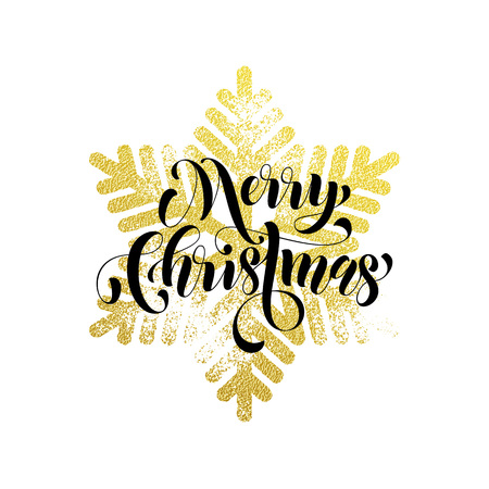 gold christmas decorations: Merry Christmas gold greeting card with snowflake glitter pattern. Falling golden glittering snow with sparkling snowflakes decorations on background