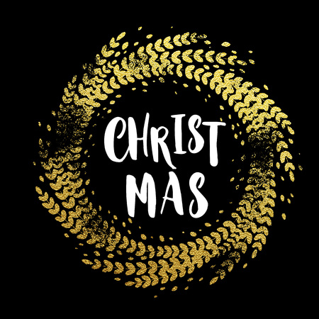 Wreath of gold leaf. Golden sparkling decoration wreath garland leaf ornament of circle of and text calligraphy lettering. Festive background for Christmas design. Merry Christmas greeting