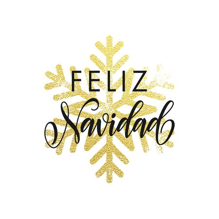 christma: Feliz Navidad greeting card with golden snowflakes. Merry Christma poster in Spanish language. Decoration ornament of gold glitter on black background Illustration