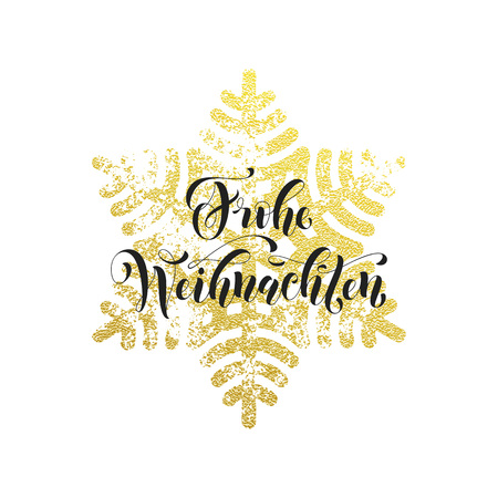 frohe: Christmas in Germany Frohe Weihnachten decorative greeting. German Christmas snow decoration background pattern of winter golden and silver snowflake crystal ornaments calligraphy lettering