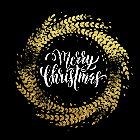Golden sparkling decoration wreath leaf ornament of circle of and text calligraphy lettering. Festive background for Christmas decorative design. Merry Christmas gold greeting card