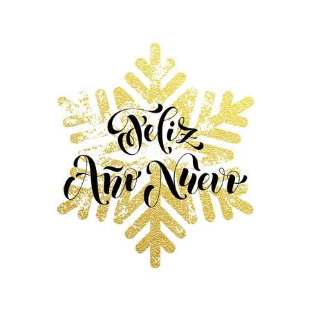 snowflake snow: New Year in Spanish golden text Feliz Ano Nuevo