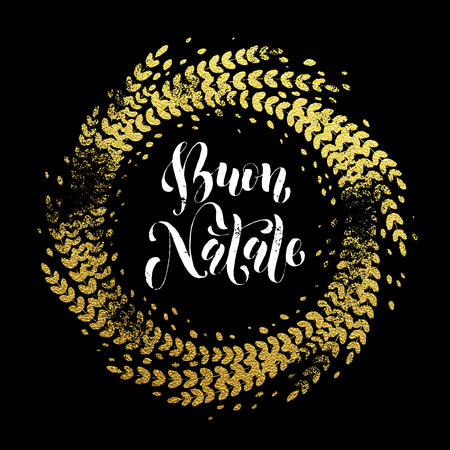 buon: Italian Merry Christmas Buon Natalel gold greeting card. Golden sparkling decoration leaf wreath ornament of circle of and text calligraphy lettering.