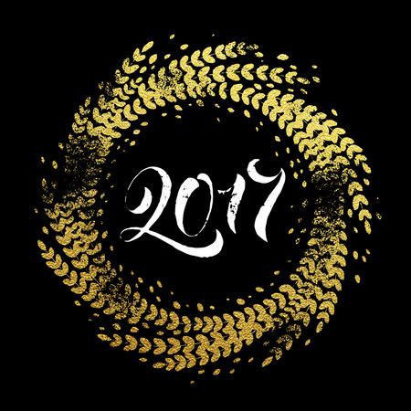 2017 Golden sparkling decoration wreath leaf ornament of circle of and text calligraphy lettering.