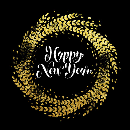 Golden sparkling decoration wreath leaf ornament of circle of and text calligraphy lettering.