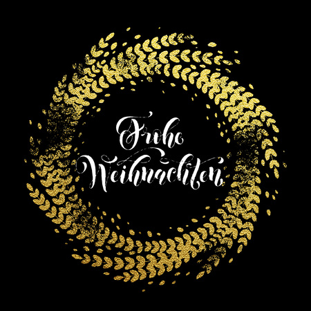 Wreath garland of gold leaf pattern. Golden sparkling decoration wreath garland leaf ornament of circle of and text calligraphy lettering. Festive background. Merry Christmas gold greeting card