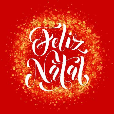 Portuguese Merry Christmas Feliz Natal. Wreath ornament decoration of sparkle glitter golden snowflakes stars pattern. Decorative text calligraphy lettering. Light glow vector yellow background Vektorové ilustrace