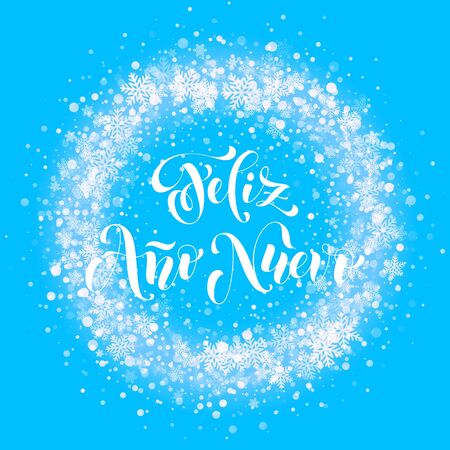 nuevo: Spanish New Year Feliz Ano Nuevo. Wreath ornament decoration of sparkle glitter golden snowflakes stars pattern. Blue light vector background. Christmas decorative text calligraphy lettering