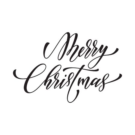 christmas element: Winter Holiday greeting card design element. Merry Christmas calligraphy text. White festive decorative vector hand drawn lettering. White background