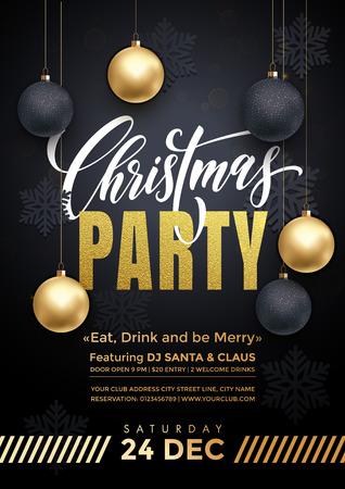 파티 포스터 12월 24일 메리 크리스마스 휴일 클럽 초대. 고급스러운 검은 색 바탕에 황금 공 및 골드 눈송이의 황금 장식 장식 프리미엄 서예 문자 일러스트