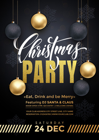Party poster 24 December Merry Christmas holiday club invitation. Premium calligraphy lettering with gold ornament decoration of golden ball and gold snowflake on luxury black background