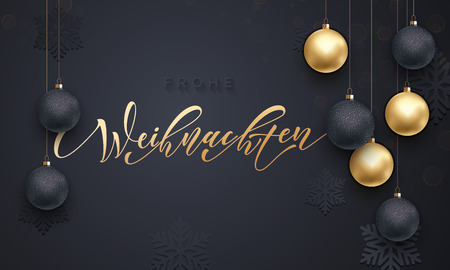 balck: Christmas in Germany Frohe Weihnachten decorative vector greeting. German Christmas snow ball and snowflake golden decoration on luxury balck background. Premium calligraphy lettering