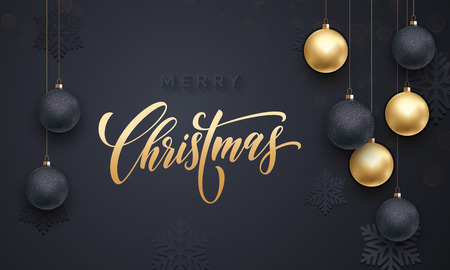 golden ball: Golden decoration ornament with Christmas ball on vip black background with snowflake pattern. Premium luxury Christmas background for holiday greeting card. Gold calligraphy lettering Merry Christmas Illustration